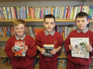 Pupils enjoying the huge selection of books from our school library.
