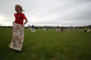 Girls sack race