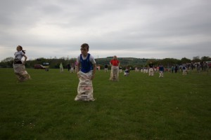 Sack race nearly there